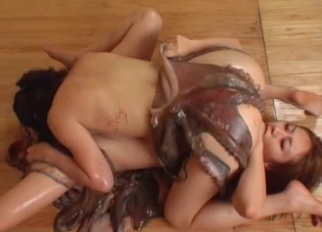 Amazing Asian hotties fucking with real octopus
