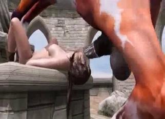 3D stallion beast fucks her throat